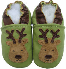 carozoo reindeer green 6-12m soft  sole leather baby shoes