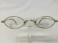 Vintage Perry Ellis Eyeglasses PE 166 Satin Gold Tortoise Metal Oval