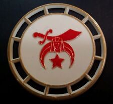 Rare Vintage Shriners Drink Coaster - Hard Plastic Red White Gold Mid Century