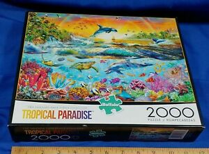 Buffalo Games Adrian Chesterman Tropical Paradise 2000 Pc Jigsaw Puzzle Complete