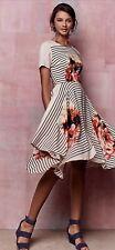 NWT Anthropologie COREY LYNN CALTER Verna Midi Floral Stripe Dress Women Sz 8