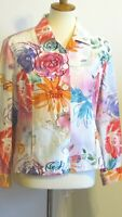 Coldwater Creek women's Large? Bright Floral button up shirt jacket Linen FEEL