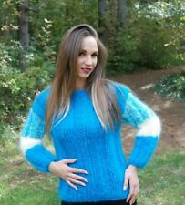 Hand Knitted Mohair Wool SWEATER Fuzzy Soft  Pullover Women's Dress Blouse 130