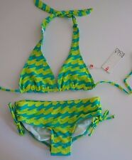 Billabong Girl's 6X 2 Pc Bikini Swimsuit Reversible Aqua Blue Yellow Wave Logo