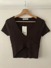ZARA Knit Brown Ribbed Crop Crossover Wrap V-neck Top T-shirt M
