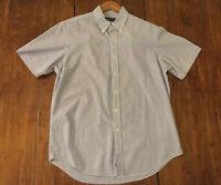 Polo Ralph Lauren Button Down 100% Cotton Blue Stripe Shirt Men's L Pony Logo