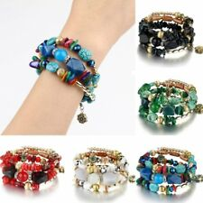 Fashion Natural Stone Turquoise Agate Multi-layer Bangle Bracelet Women Jewelry