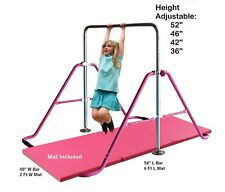 Kids Jungle kip Horizontal Bar Monkey Balance Bars Pink + 2' x 6' Gymnastic Mat.