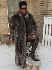 Mint Full length Designer Bisang Silver Fox Fur Coat Jacket stroller M-L 10-16