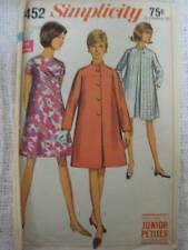 VTG Women's MOD DRESS & COAT Sz 7 Jr Petite Simplicity Sewing Pattern 7452