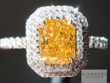 .77ct Fancy Vivid Orange Yellow Radiant GIA Halo Ring R3463 Diamonds by Lauren