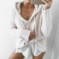Women's Coral Fleece Pullover Hoodie Sweatshirts Jumper Hooded Sweater Coat Tops