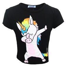 Nuevo Chicos Chicas frotándose Unicornio Camiseta Top Corto Rosa Negro 7 8 9 10