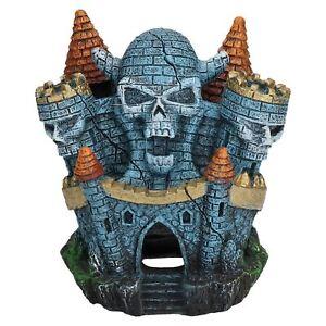 Aquatic Aquarium Decor Sinister Skull Castle Fish Tank Ornament 10x8x10cm