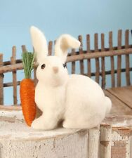RL6564 Bethany Lowe Woolly White Wabbit Easter Bunny Rabbit w/Carrot Decoration
