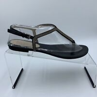 Kors by Michael Kors black leather thong sandals with chain accents size US 8