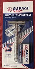 Shaving set Rapira Safety Razor Double Edge Metal chrome-plated Handle 5 blades