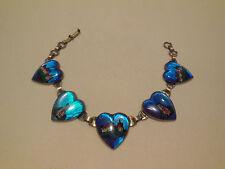 Vintage Estate Art Deco Morpho Butterfly Wing Castle Chateau Blue Heart Bracelet