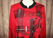 MICHAEL SIMON Size L Fashion Stiletto Boots Red Black Beaded Cardigan Sweater