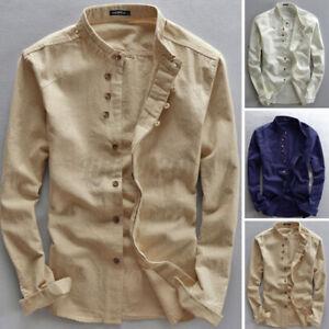 Men's Long Sleeve Retro Linen Collarless Shirts Casual Loose Shirt Beach Top Tee