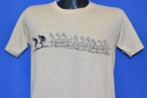 vintage 80s SKI SKIING PROGRESSION SNOW TOURIST YELLOW t-shirt MEDIUM M