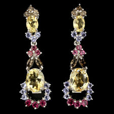 GORGEOUS NATURAL CITRINE,GARNET,IOLITE,SMOKY QUARTZ STERLING 925 SILVER EARRINGS