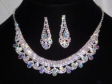 Silver W. AB Iridescent & Clear Rhinestone Crystal Necklace and Earrings Set