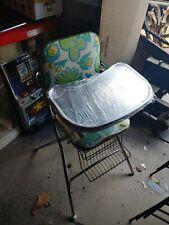 VTG Cosco High Chair Chrome Legs Metal Tray flowers Mid Century