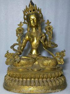 "17"" Old Tibet Copper Gold Buddhism White Tara Goddess Lotus Sculpture"
