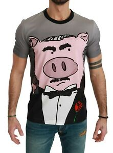 DOLCE & GABBANA T-shirt Gray Cotton Top 2019 Year of the Pig IT50 / US40 / L