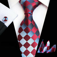 Tie Pocket Square Cufflinks Red Blue Check Grid Set Individual Silk Wedding