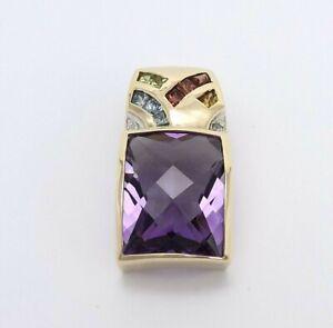 John Rinker JCR 14k Gold Faceted Amethyst Rainbow Diamond Omega Slide Pendant