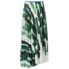 Celine White Green Mulberry Silk Full-Length Pleated Skirt FR38 UK10