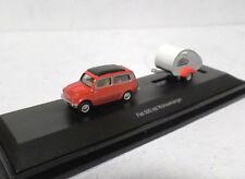 Fiat 500 Combi in Red with Teardrop Caravan - Schuco 1:87 scale gauge