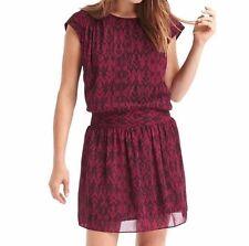 NWT Gap Smocked cap sleeve dress, Plum Print SIZE XS    #359056