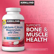 Kirkland Signature Calcium Citrate 500 mg, 500 Tablets D3, Magnesium, Zinc
