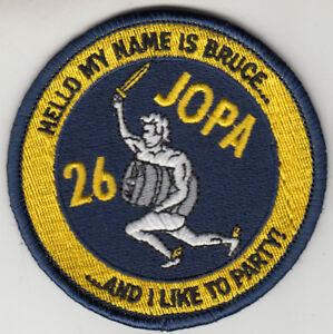 HSC-26 CHARGERS HELLO MY NAME IS BRUCE JOPA SHOULDER PATCH