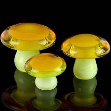 3 Galliano Ferro Glass Vaseline Uranium Mushroom Toadstool Morel Set