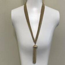Vintage Sarah Coventry Gold Tassle Necklace Long Multi Strand Chain