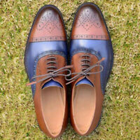 Two Tone Calf Leather Men Handmade Casual Cap Toe Lace Up Brogues Oxfords Shoes