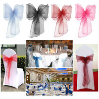 Organza Sashes Chair Cover Fuller Bows for Wedding Reception Function Decoration