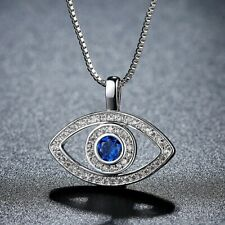 18k White Gold plate crystal greek turkish evil eye protection pendant necklace
