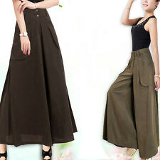 Plus Size Casual Two Pockets Wide Leg Women Lady NEW Long Pants Trousers Skirt