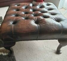 Chesterfield Deep Buttoned Queen Anne Footstool Vintage Truffle Brown Leather