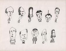 SURREALIST FIGURES Pen & Ink Drawing ARTHUR MITSON c1985  SURREALISM