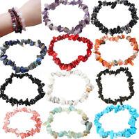 Natural Glass Quartz Gemstone Crystal Chips Beads Stone Stretchy Bangle Bracelet
