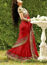 Red Indian Bollywood Designer Georgette Saree Embroidery Sari Party Wear Blouse