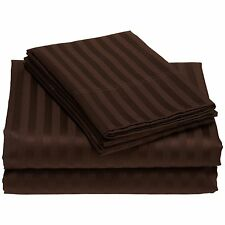 """1200TC Highly Bed Linen 100% Cotton Bed Sheet Set Stripes """"Chocolate"""" & US Sizes"""