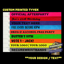 100 x Tyvek, ID CUSTOM  Wristbands *Your Text Here* 12 COLOURS With Express Post