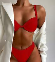 Women's Push Up Two Piece Bikini Swimsuits Padded  V Neck Swimwear Bathing Suits